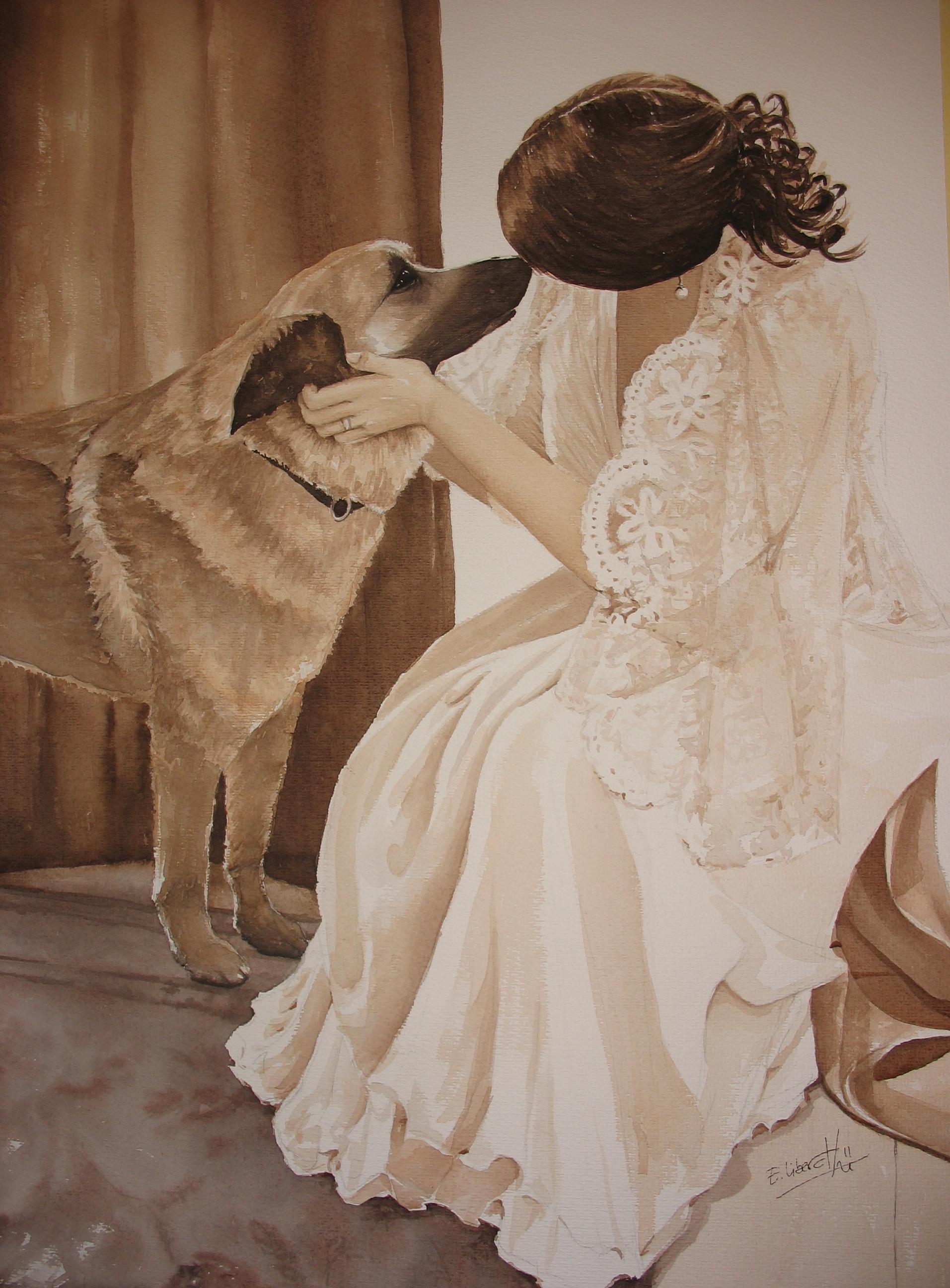Figuras y Retratos Mujer vestida de novia con perro Acuarelas Eva Liberal