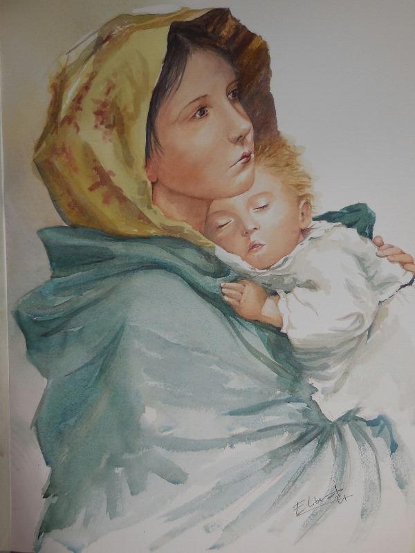 virgencita niño jesus figuras y retratos acuarela Eva Liberal