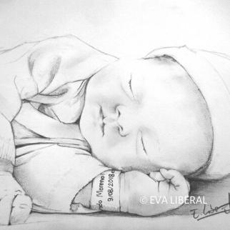 retratos de bebé desde una foto a lápiz acuarelas eva liberal
