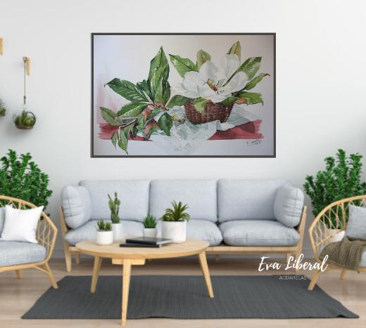 cuadro-magnolia-blanca-grande-ideas-para-regalar-acuarelas-de-flores-eva-liberal