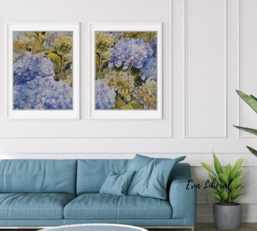 regalar-cuadros-hortensias-azules-ideas-para-regalar-acuarelas-de-flores-eva-liberal