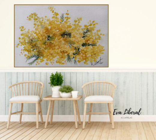 regalar-cuadros-mimosas-amarillas-ideas-para-regalar-acuarelas-de-flores-eva-liberal