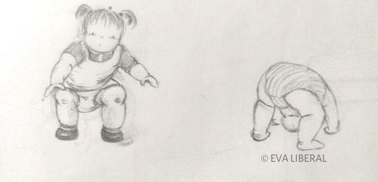 ilustraciones infantiles lapiz niños jugando eva liberal