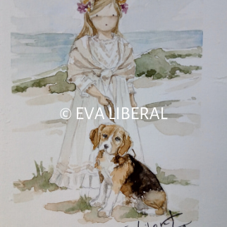 recordatorios personalizados en acuarela niña playa mascota perro