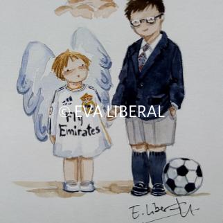 recordatorios personalizados en acuarela niño futbol y angelito hermano