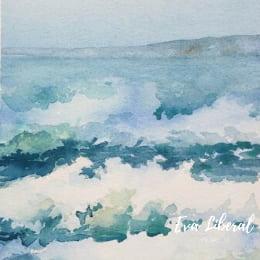 acuarela de olas del mar pintada a mano eva liberal