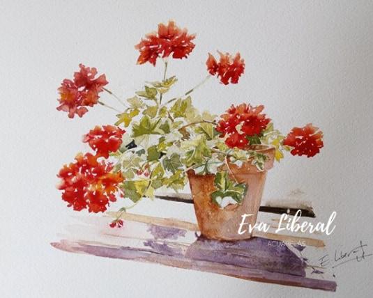 cuadro geranios rojos acuarelas flores eva liberal