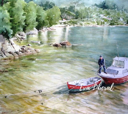 pescador san felipe ferrol acuarelas marinas eva liberal