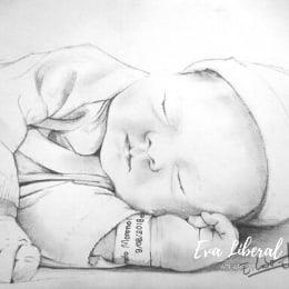 retratos de bebe desde una foto a lápiz acuarelas eva liberal