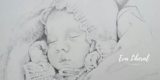 retratos lapiz bebe niña recien nacida acuarelas eva liberal