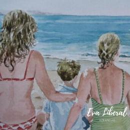 retratos personalizados en acuarela de hermanos en playa perbes eva liberal