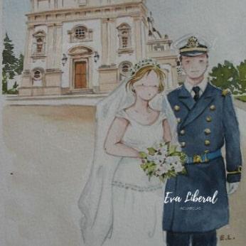 acuarelas personalizadas para bodas invitaciones iglesia uniforme militar