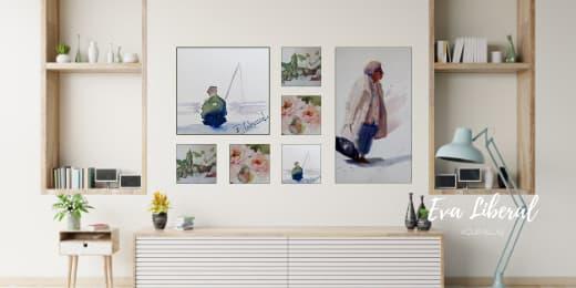 composicion-cuadros-tetris-como-decorar-una-pared-acuarelas-eva-liberal